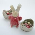 Keramik Osterhase mit Nest