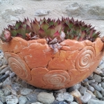 Keramik Pflanzschale - auch als Blumenampel verwendbar