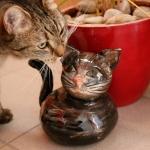 Keramik Zaungast Katze