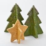 Keramik weihnachtliche Sterne und Tannenbäume